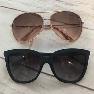 Sunglasses lot GUESS and FOSSIL rose gold and blue